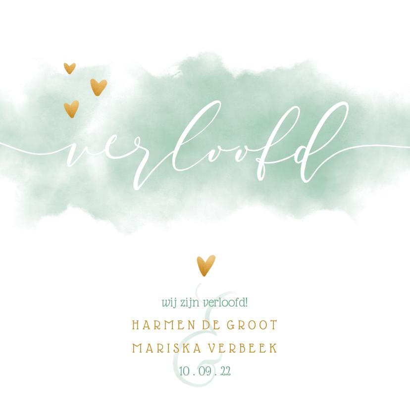 Trouwkaarten - Verlovingskaart met waterverf en gouden hartjes