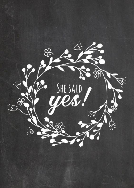 Trouwkaarten - Verlovingskaart she said yes