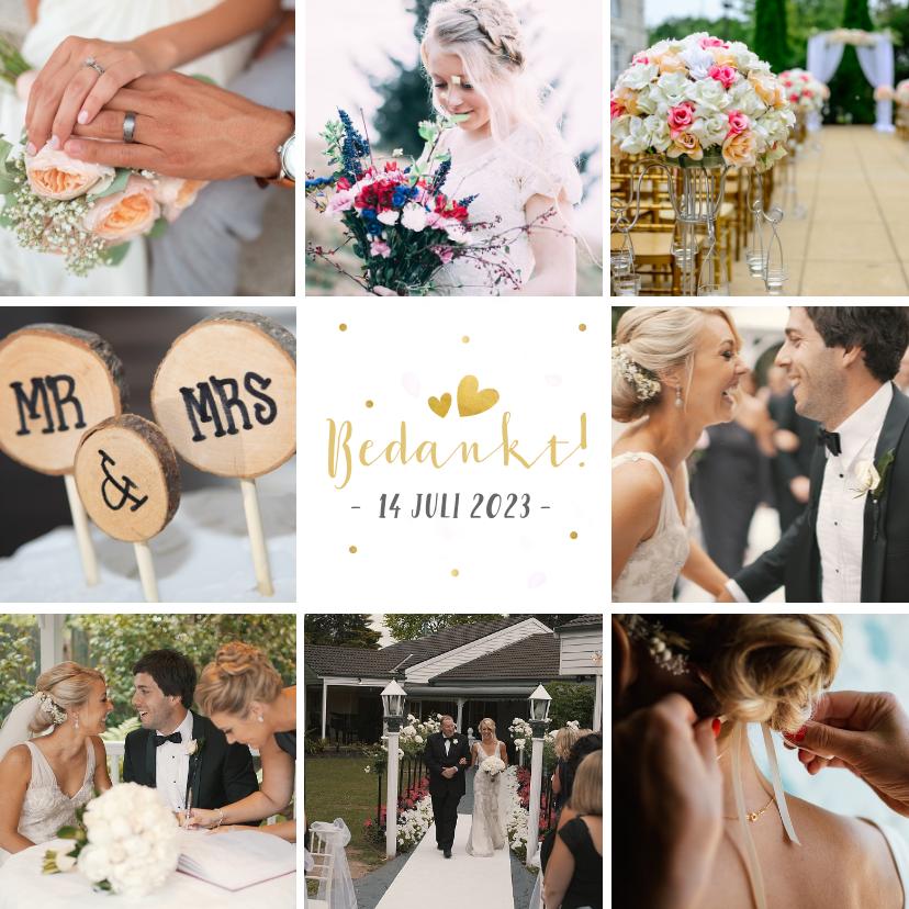 Trouwkaarten - Vierkante fotocollage bedankkaart huwelijk met 8 foto's