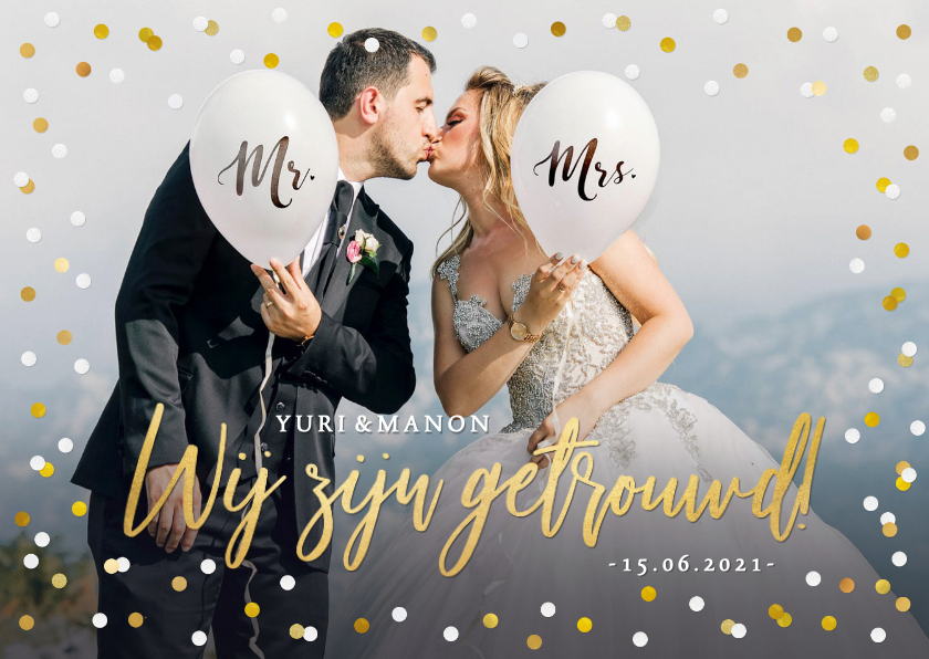 Trouwkaarten - Wij zijn getrouwd kaart met eigen foto en confetti kader