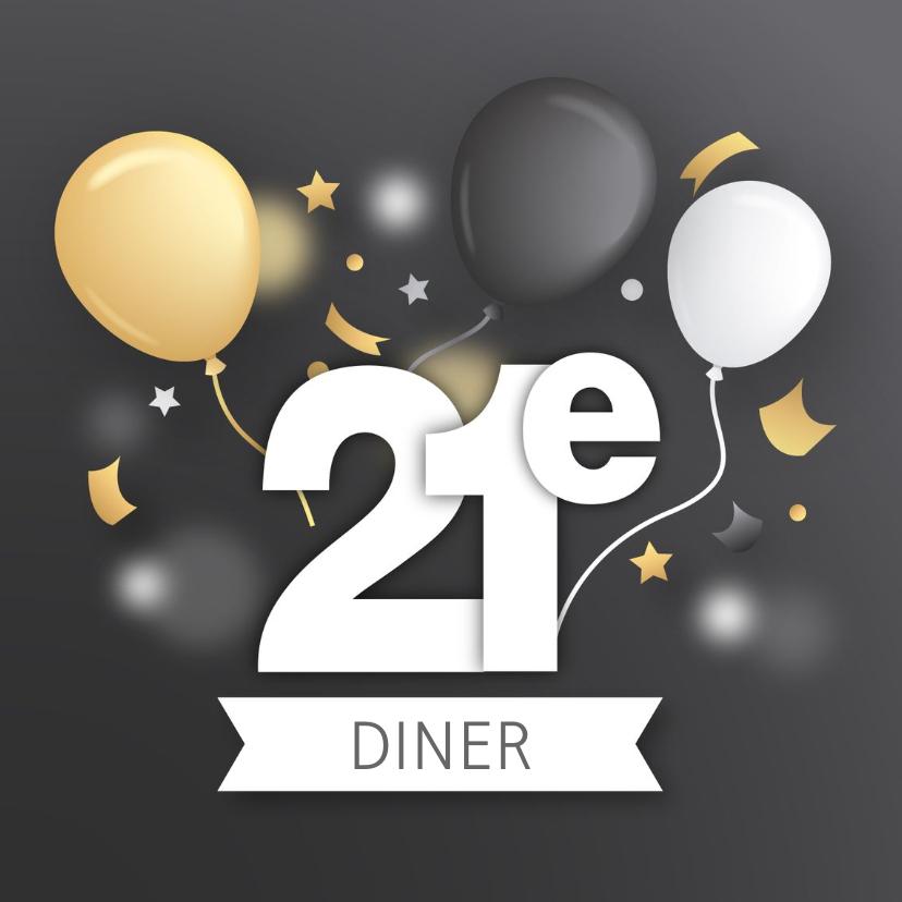 Uitnodigingen - 21 diner uitnodiging gold and silver