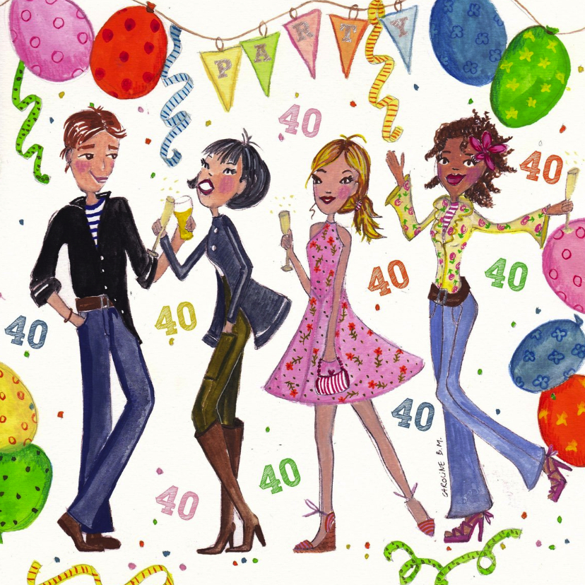 Uitnodigingen - 40 jaar Feest by Cartita Design