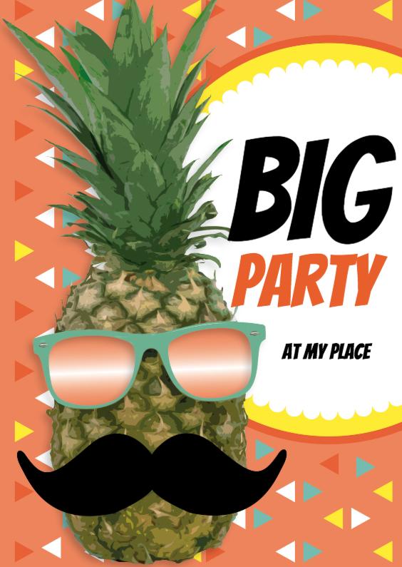 Uitnodigingen - Ananas met snor Big Party