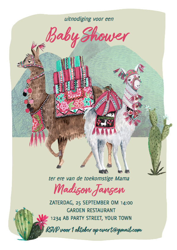 Uitnodigingen - Baby Shower uitnodiging Lama