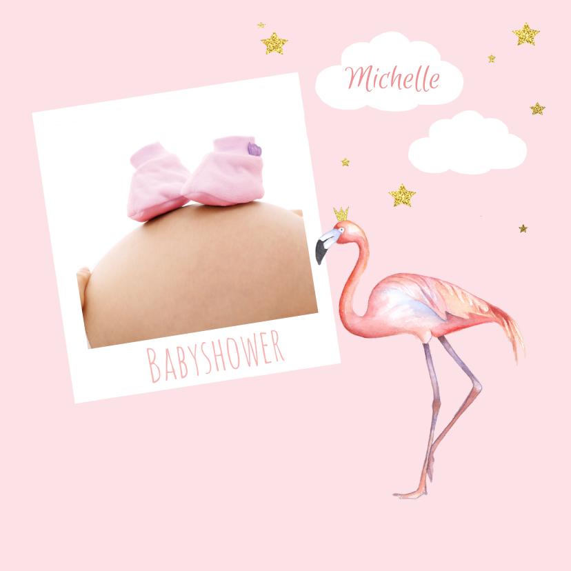 Uitnodigingen - Babyshower flamingo foto