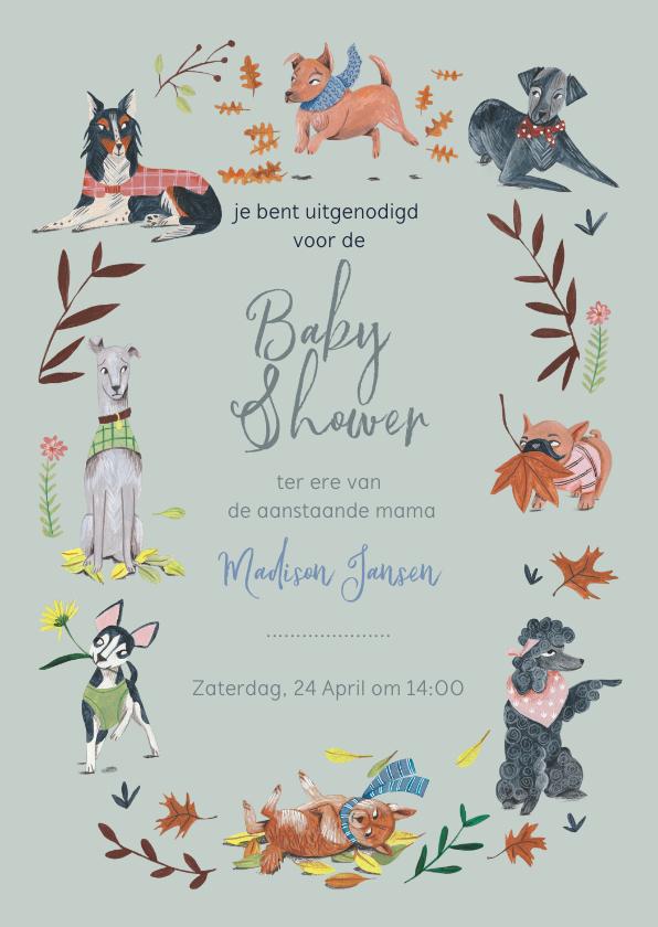 Uitnodigingen - Babyshower honden botanisch blauw