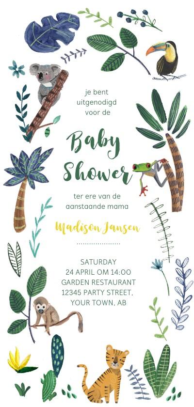 Uitnodigingen - Babyshower tijger en dieren jungle thema