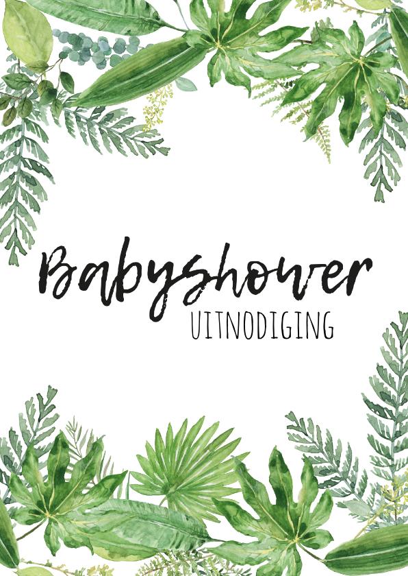Uitnodigingen - Babyshower uitnodiging   Botanisch