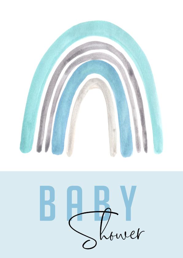 Uitnodigingen - Babyshower uitnodiging | Regenboog waterverf blauw