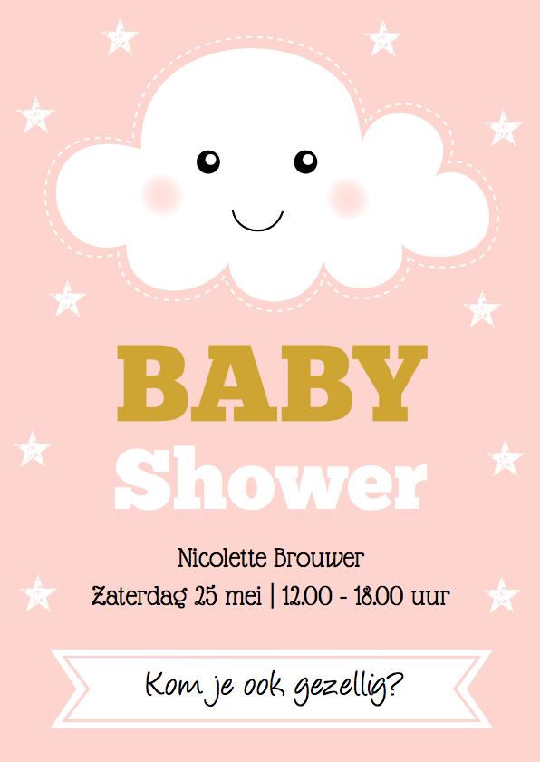 Uitnodigingen - Babyshower uitnodiging wolkje roze