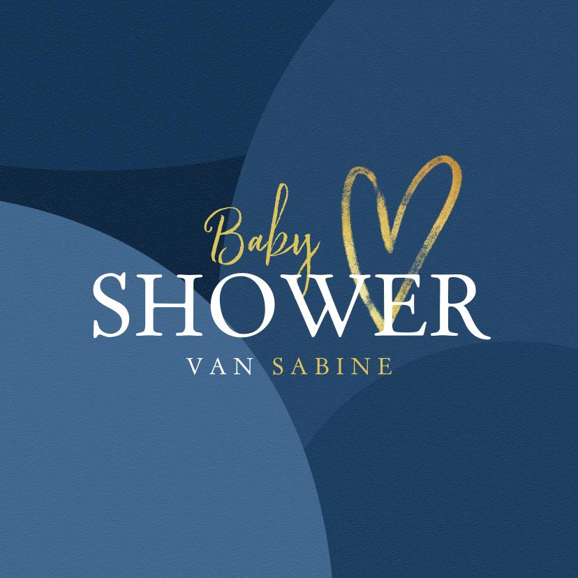 Uitnodigingen - Babyshower uitnodigingskaart blauw jongen goud hartje