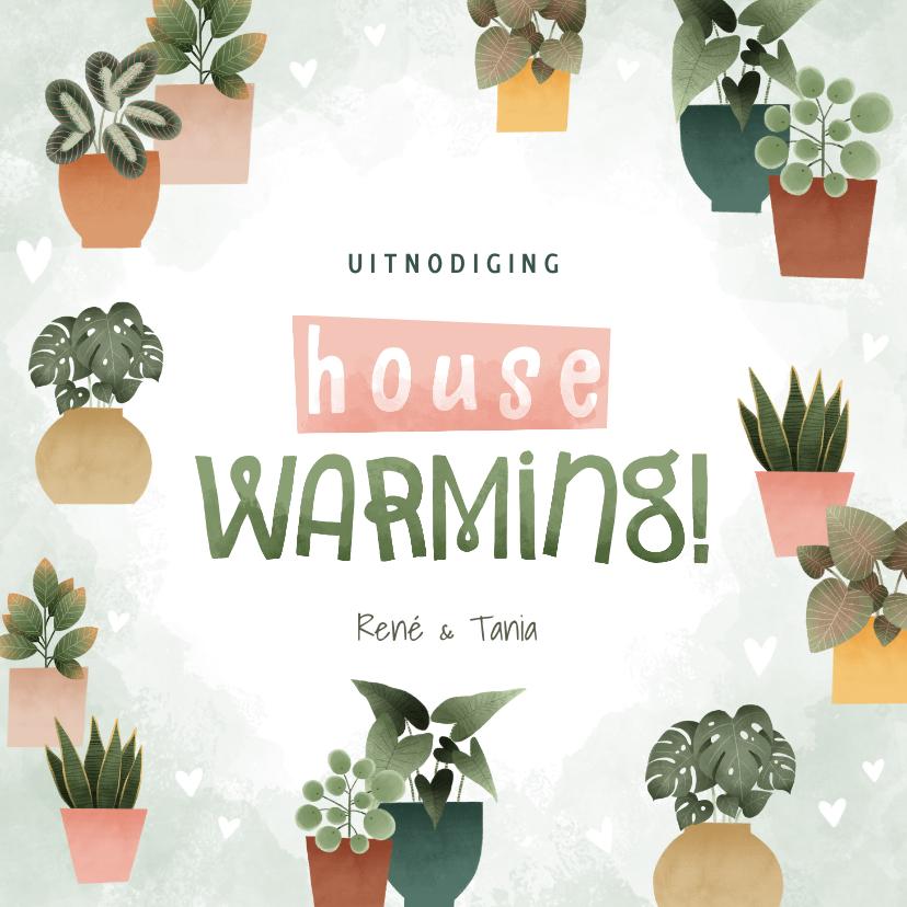 Uitnodigingen - Botanische uitnodiging housewarming met planjes en hartjes