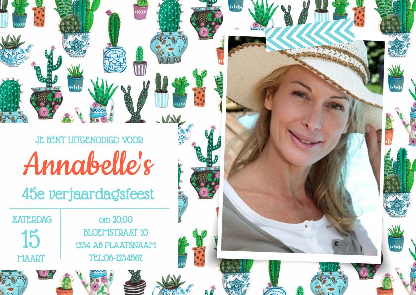 Uitnodigingen - Cactus Uitnodiging Leeftijd
