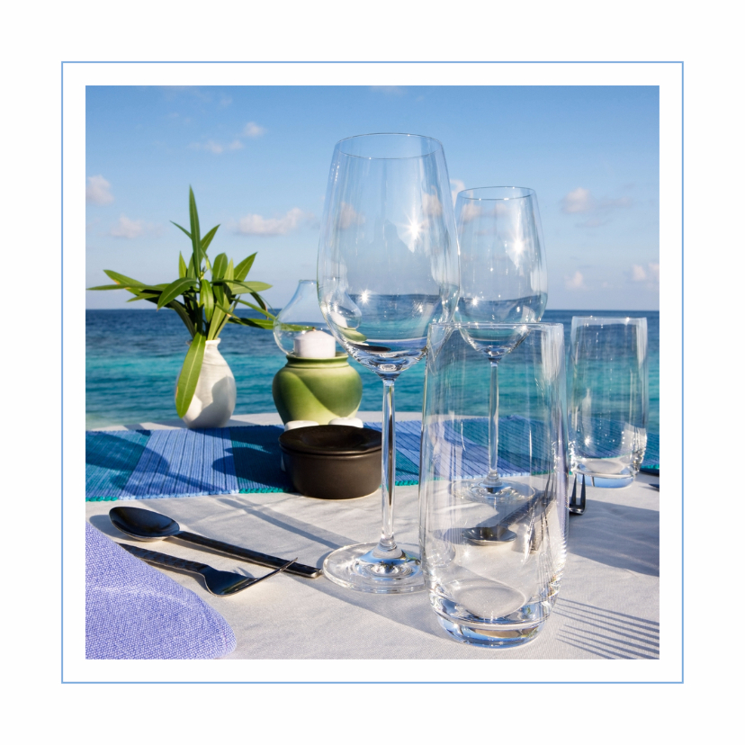 Uitnodigingen - diner kaart azuur blauw