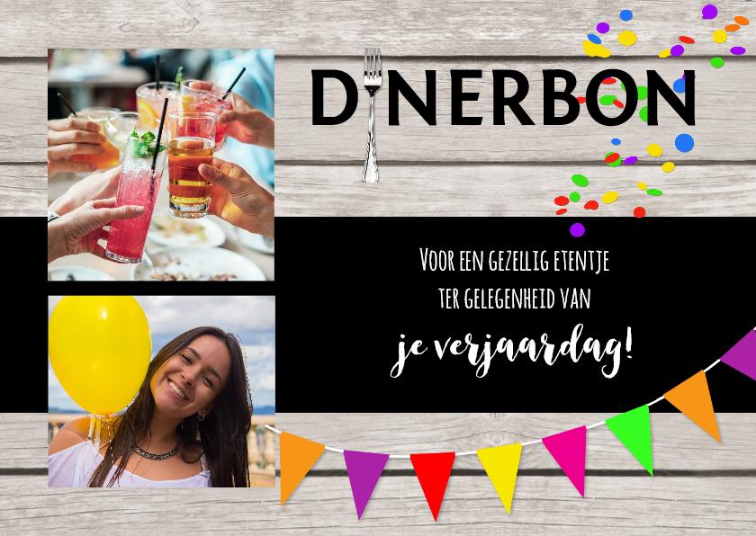 Uitnodigingen - Dinerbon collage uitnodiging