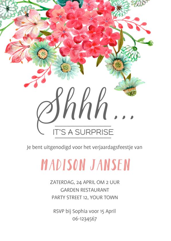 Uitnodigingen - Een Surprise Party met wilde bloemen