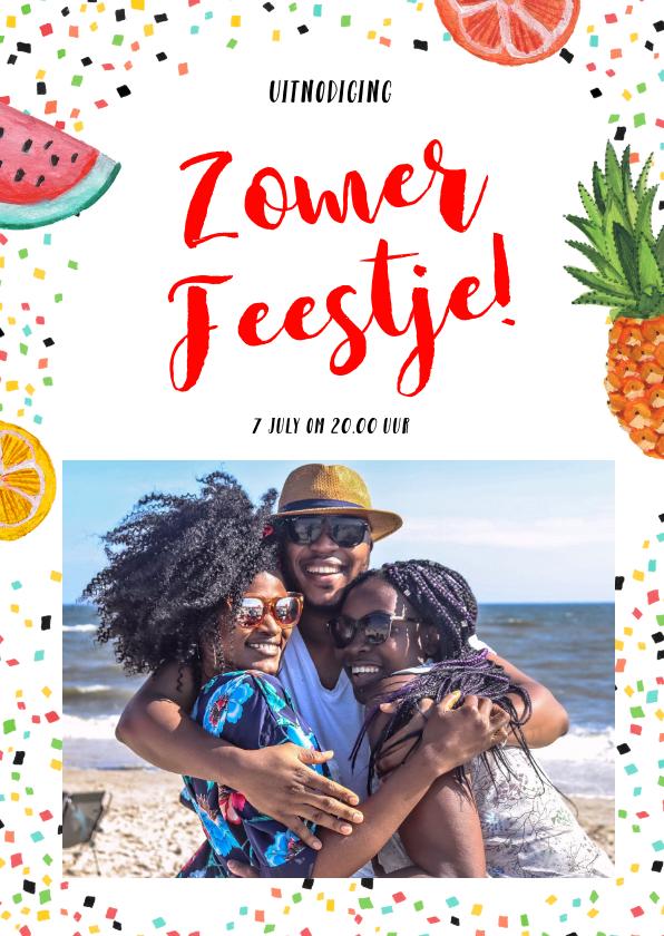 Uitnodigingen - Een tropische fruit uitnodiging voor een BBQ of tuinfeestje