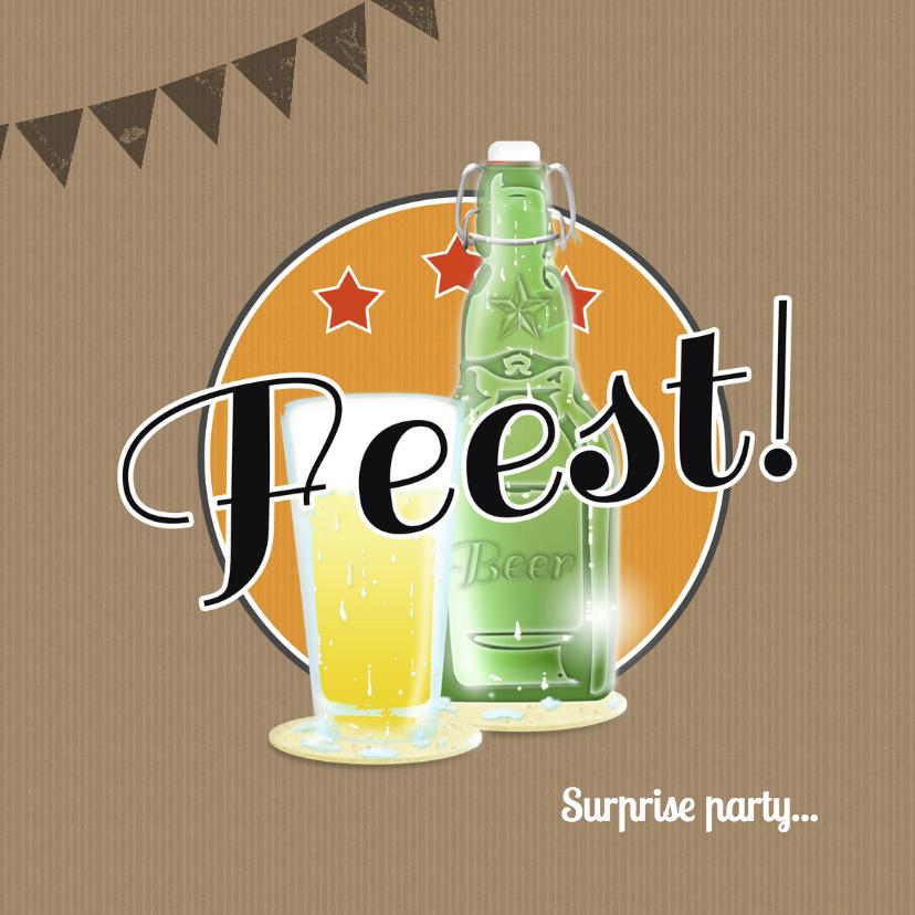 Uitnodigingen - Feest bierglas en fles B