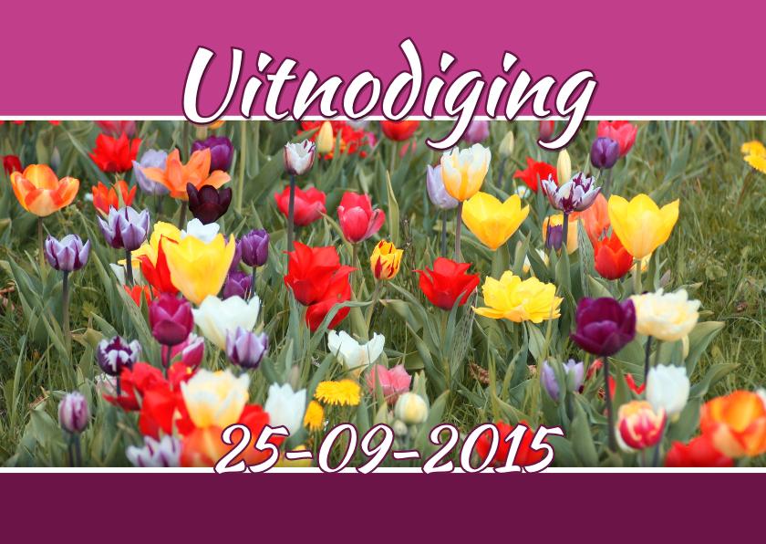 Uitnodigingen - Feest bloemen zelf invullen a