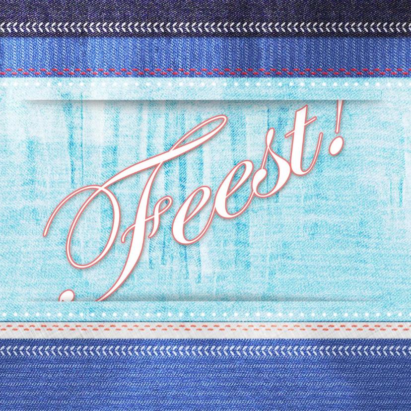 Uitnodigingen - Feest jeans tiener fotostapel RB
