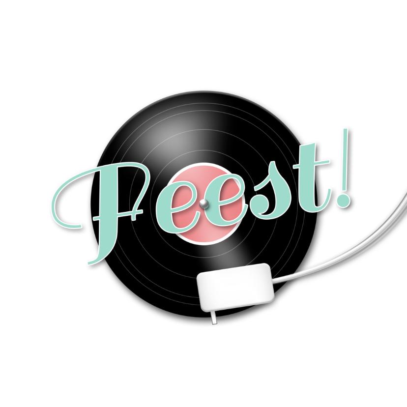 Uitnodigingen - Feest muziek LP en muzieknoten