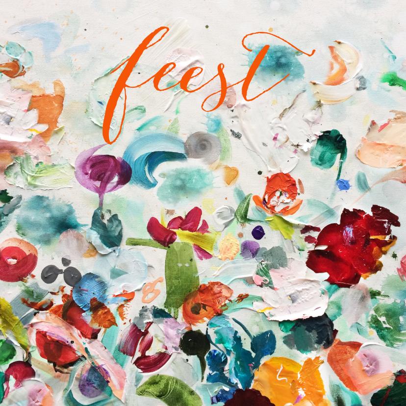 Uitnodigingen - Feest Schilderij Bloemen