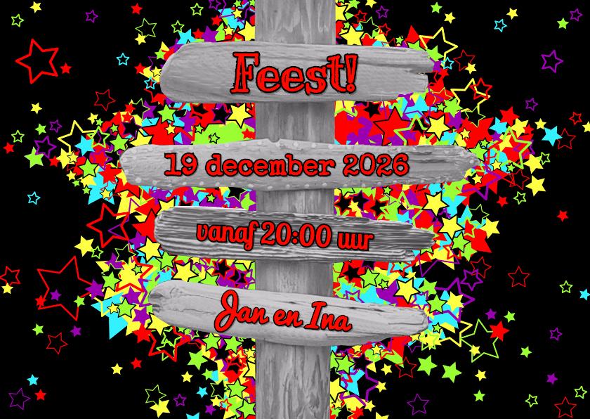 Uitnodigingen - FEEST! sterren en een strandpaal