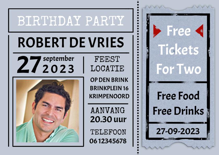 Uitnodigingen - 'Free Tickets For Two' uitnodiging verjaardag