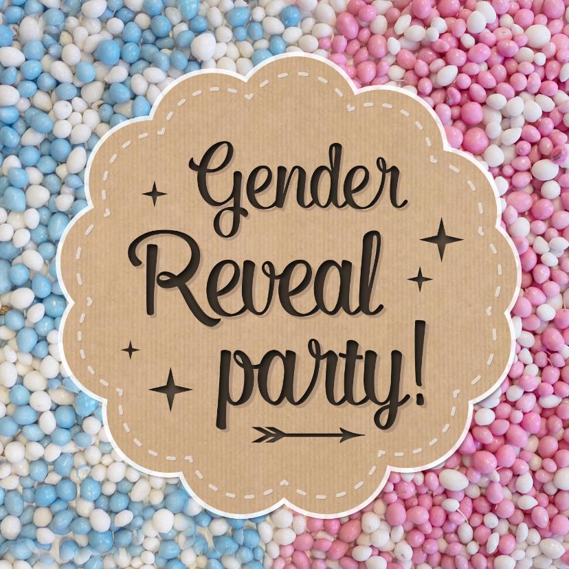 Uitnodigingen - Gender reveal party uitnodiging met roze en blauwe muisjes