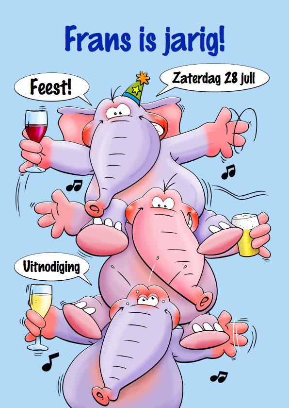 Uitnodigingen - Grappige uitnodiging feest met 3 olifanten