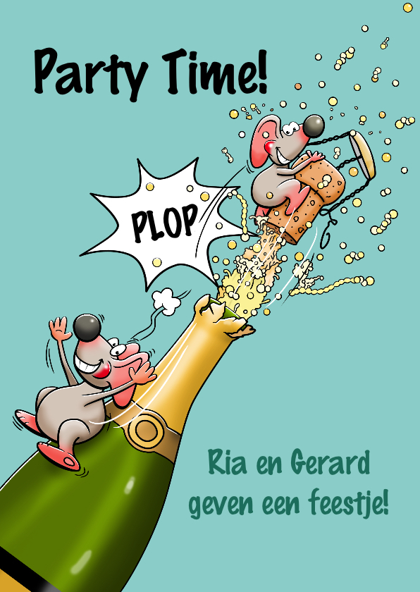 Uitnodigingen - Grappige uitnodiging met muizen en fles champagne