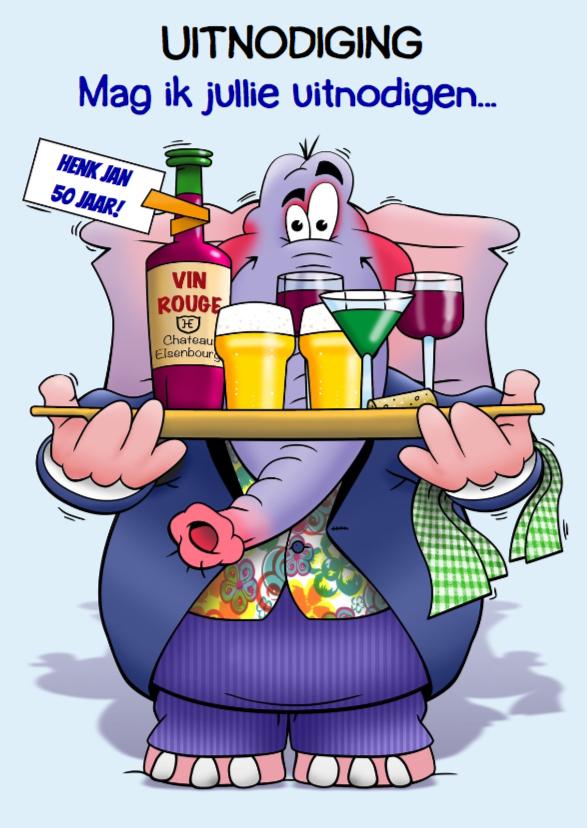 Uitnodigingen - Grappige uitnodiging olifant met glazen bier en wijn