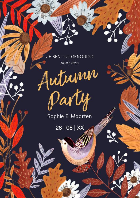 Uitnodigingen - Herfstbladeren feestje Autumn party