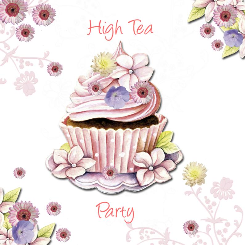 Uitnodigingen - high Tea met cupcake bloemen