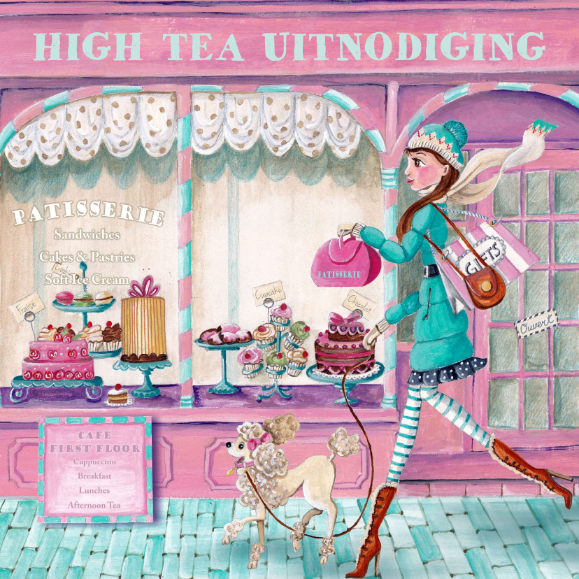 Uitnodigingen - High Tea Patisserie Cupcake Illustratie