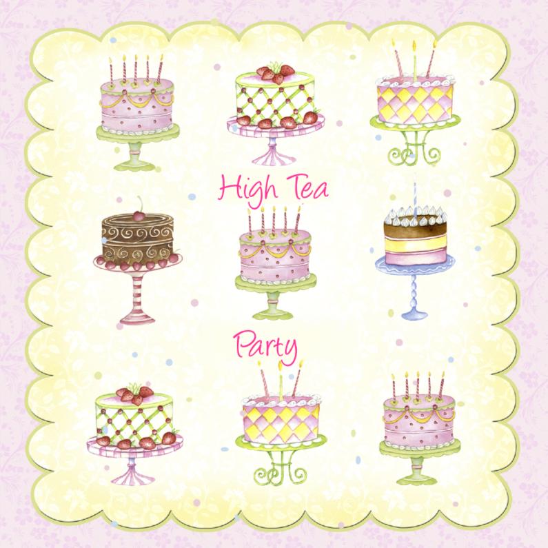 Uitnodigingen - High tea taarten