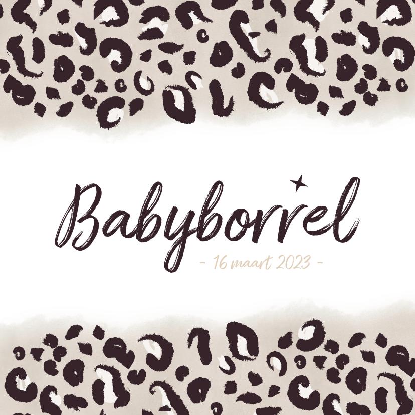 Uitnodigingen - Hippe babyborrel uitnodiging met taupe panterprint en datum