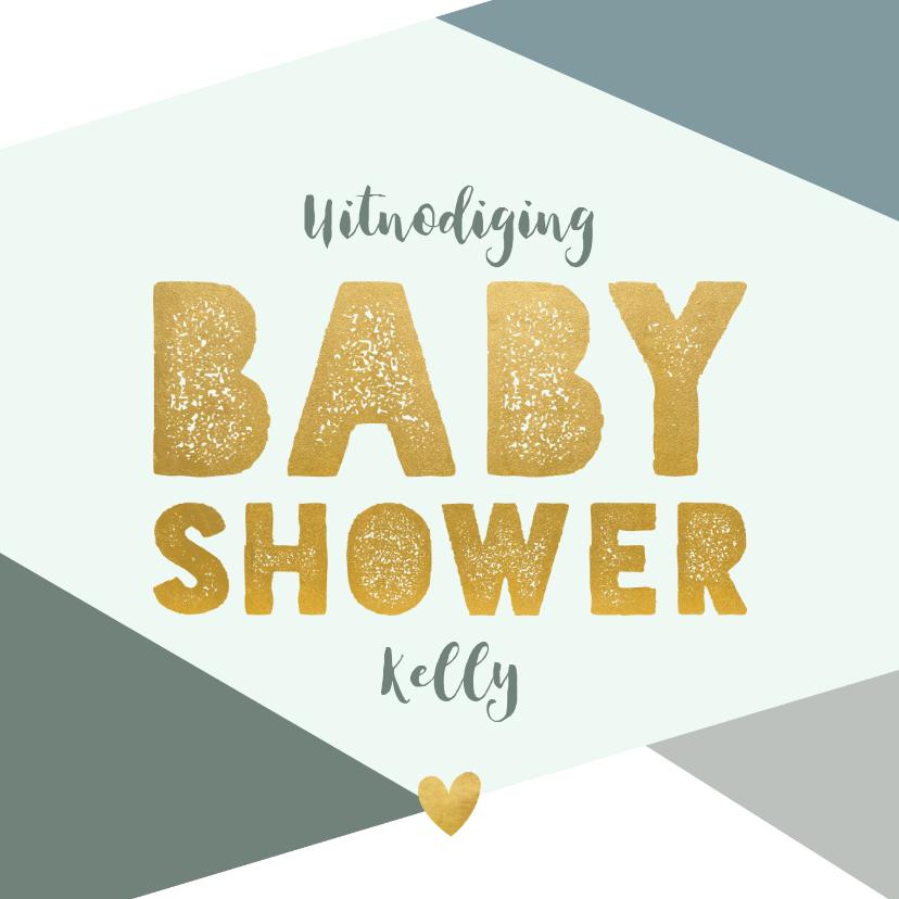 Uitnodigingen - Hippe uitnodiging babyshower blauwe vlakken en gouden test