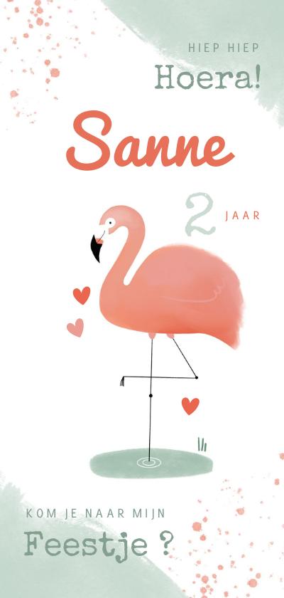 Uitnodigingen - Hippe uitnodiging flamingo waterverf meisje 2e verjaardag