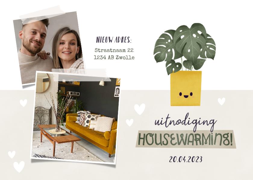 Uitnodigingen - Hippe uitnodiging housewarming met plantje, foto's & hartjes