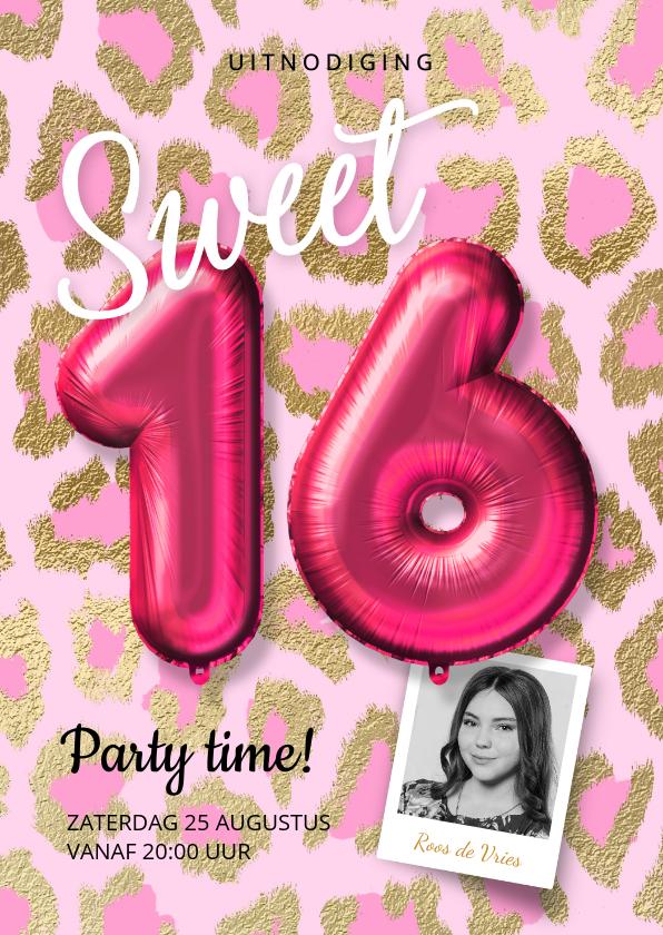 Uitnodigingen - Hippe uitnodiging meisje sweet sixteen ballonnen