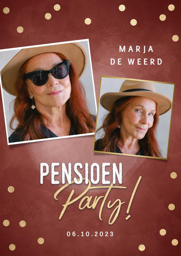Uitnodigingen - Hippe uitnodiging pensioen party gouden confetti & foto's