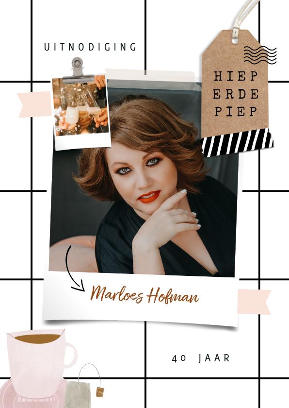 Uitnodigingen - Hippe uitnodiging scrapbook look met foto's