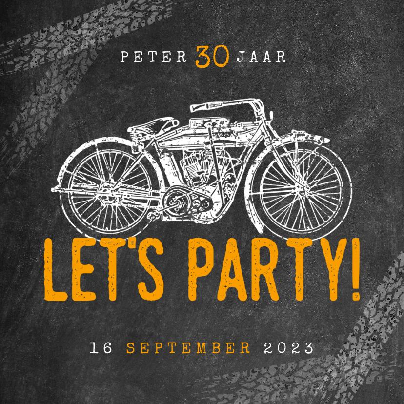 Uitnodigingen - Hippe uitnodiging verjaardag 30 jaar met motor & Let's Party