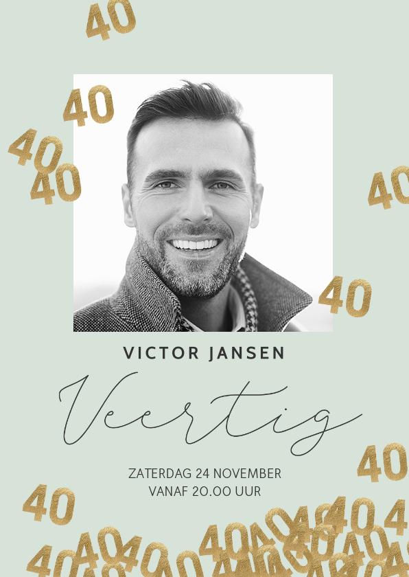 Uitnodigingen - Hippe uitnodiging verjaardag man 40 confetti