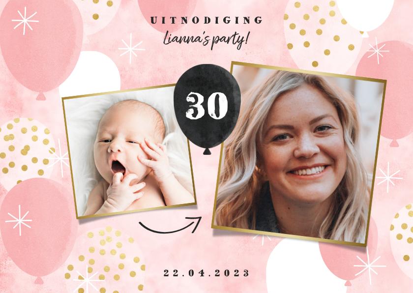 Uitnodigingen - Hippe uitnodiging verjaardag met ballonen en foto's