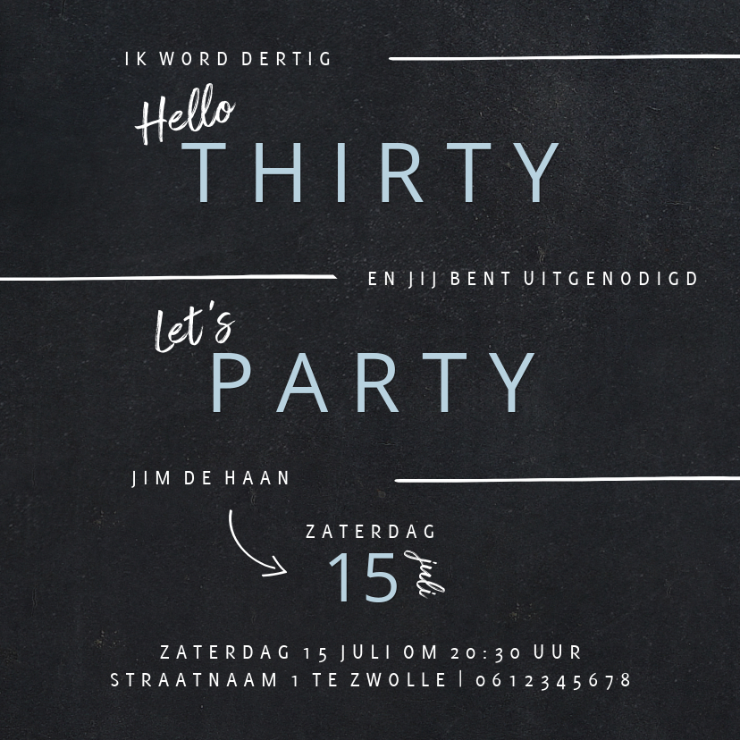 Uitnodigingen - Hippe uitnodiging verjaardagsfeest man in krijtbord look