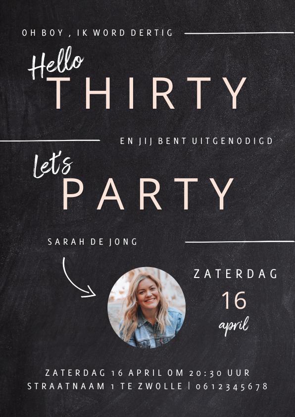 Uitnodigingen - Hippe uitnodiging verjaardagsfeest vrouw krijtbord