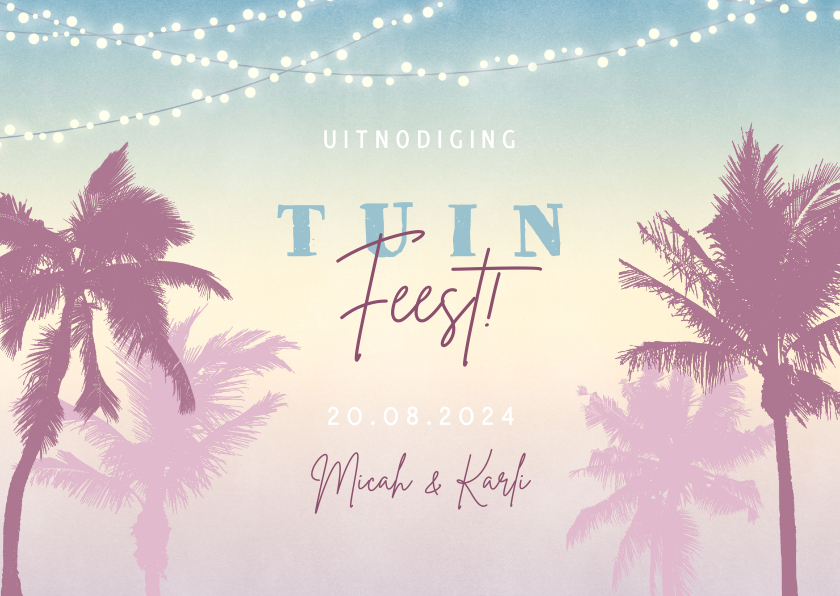 Uitnodigingen - Hippe uitnodiging voor een tuinfeest met palmbomen & lampjes