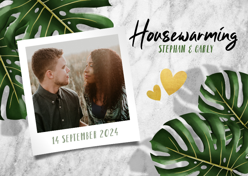 Uitnodigingen - Hippe uitnodiging voor housewarming met bladeren en marmer